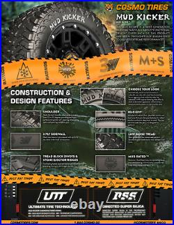 35X12.50R20LT Cosmo MUD KICKER M/T 125Q 12PLY LOAD F 80PSI M+S (SET OF 4)