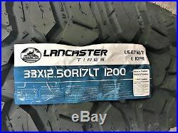 4 New Lancaster LS-67 M/T LT 33X12.50R17 Load E 10 Ply MT Mud Tires